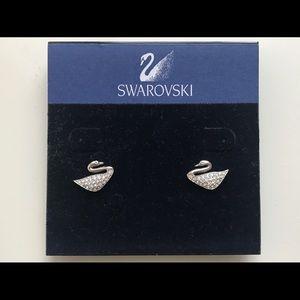 Authentic SWAROVSKI Swan Mini Pierced Earrings